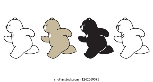 Bear vector polar bear running cartoon character icon logo illustration doodle