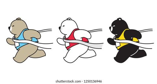 Bear vector polar bear running marathon cartoon character icon logo illustration doodle