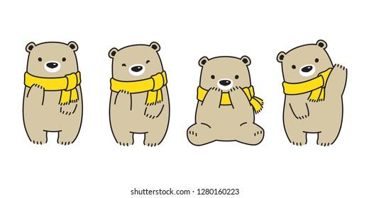 Bear vector Polar Bear scarf cartoon character icon logo symbol illustration doodle brown