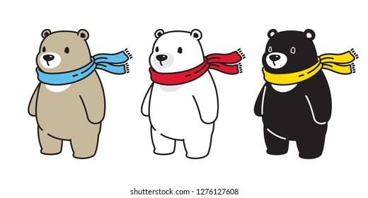 Bear vector Polar Bear scarf icon honey logo cartoon character illustration doodle