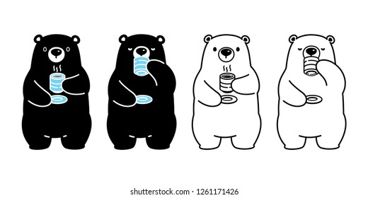 Bear vector polar bear tea coffee drink cartoon character icon logo isolated illustration black