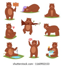 Bear vector set cartoon animal character and cute brown grizzly eating honey illustration animalistic set of childish teddybear playing or hugging with she-bear isolated on white background