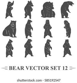 bear vector, set, icons, label, sign, sticker, t-shirt, print, patch on jacket, sticker, bear is looking