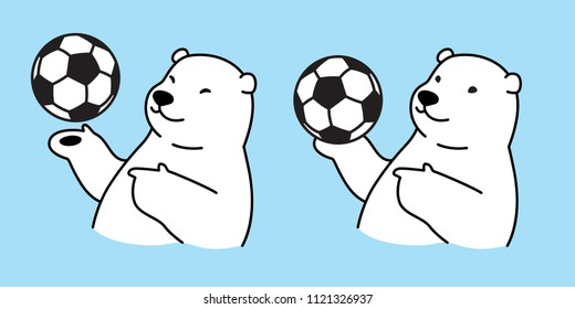 Bear vector soccer polar Bear icon logo football illustration character symbol doodle white