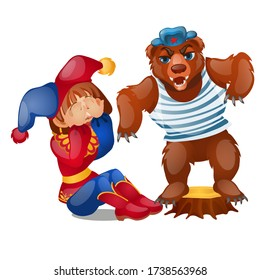 Bear in a vest and beret scares the buffoon isolated on white background. Vector cartoon close-up illustration.