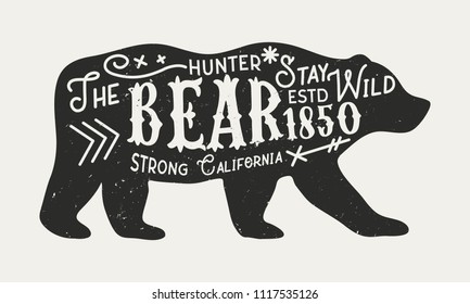 The Bear - vintage poster template. Silhouette of bear with text isolated on a white background. Retro poster with grunge texture. Vector illustration