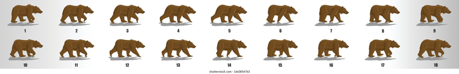 Bear walk cycle animation frames, loop animation sequence sprite sheet