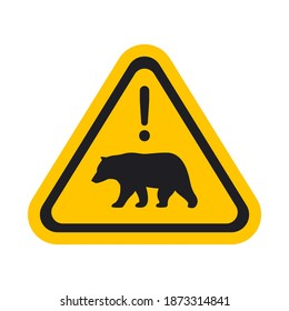 The Bear Warning Sign. Isolated Vector illustration