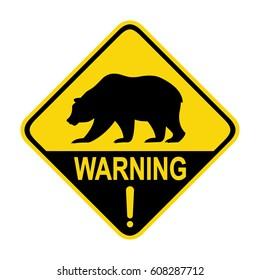 Bear warning sign, symbol, illustration