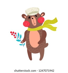 Bear in winter. Vector for baby tee print