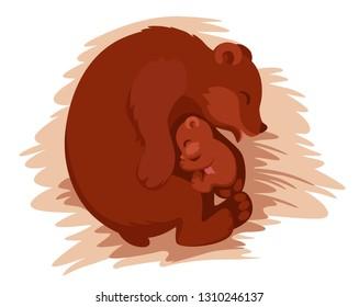 bear-a mother sleeping with her little bear