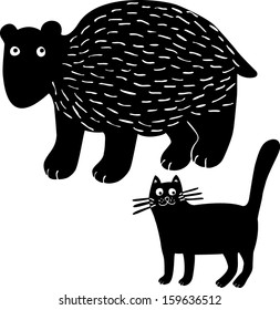 Bear&cat. Hand drawn illustration.