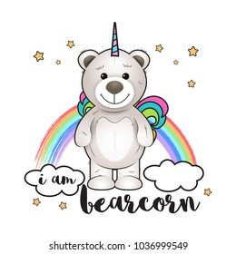 I am bearcorn. Illustration with bear like a unicorn