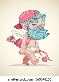 beard cupid cartoon vector illustration