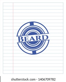 Beard drawn with pen strokes. Blue ink. Vector Illustration. Detailed.