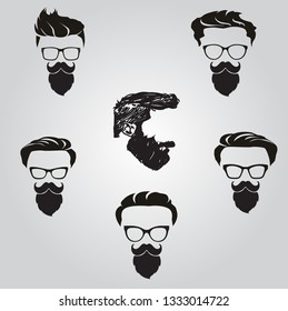 Beard Face with difference type of sunglasses design vector illustration