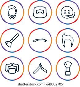 Beard icons set. set of 9 beard outline icons such as man hairstyle, bllade razor, razor, shaving brush