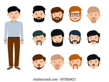 Beard man character creation set. The options of beards and mustaches for young men. Flat style illustration. Isolated vector illustration