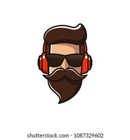 Beard Man With Headphone Logo Template