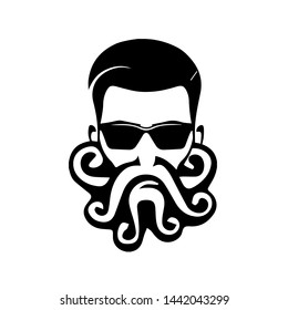 Beard man logo with tentacles isolated on white background