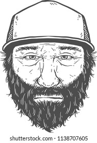 Beard man wearing trucker cap. Black and white line art illustration for t-shirt, sticker or poster.