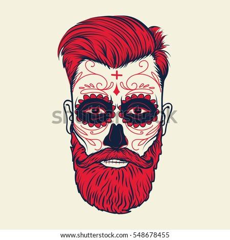 Beard Men Face Sugar Skull Tattoo Stock Vector Royalty Free