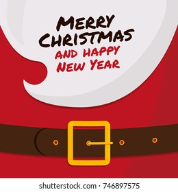 The beard of Santa Claus with Merry Christmas and happy New Year� vector template. Illustration for New Year and Christmas card designs, greetings, flyers, banners, advertisements, poster...