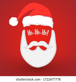 Beard Santa with red background- vector illustration