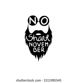 Beard silhouette with No Shave November lettering. Prostate cancer awareness. Hipster man with beard and moustache. Vector Illustration. Black and white colors.