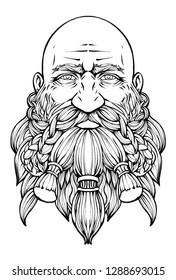 Bearded bald dwarf with a kind look