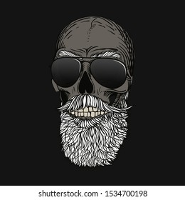 Bearded bald skull with gray hair and glasses. Stylish men's beard, biker view. Picture for halloween, barbershop and clothes.