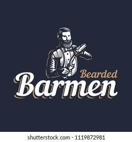 Bearded barmen, barkeeper or bartender in work silhouette with shaker logo design on black background - Hand drawn man with beard and mustache vector illustration. Gold and white vintage emblem design