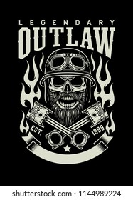 Bearded Biker Skull With Crossed Pistons Emblem
