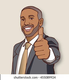 Bearded business man in suit giving a thumbs up