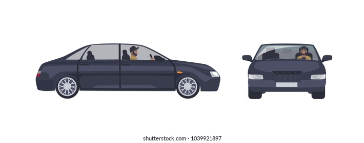 Bearded caucasian man in cap driving black sedan car isolated on white background. Male driver and his luxury automobile. Front and side views. Cartoon colorful vector illustration in flat style.