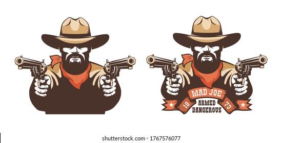 Bearded cowboy western gunfighter with guns. Wild west gunslinger - retro emblem. Vector illustration.
