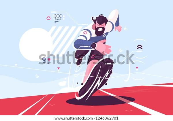 Бородатый чувак работает быстро на стадионе векторной иллюстрации. Человек в спорте часы с пульсом и данными о местоположении на гоночной трассе плоский стиль. бегун спринтер парень на тренировки
