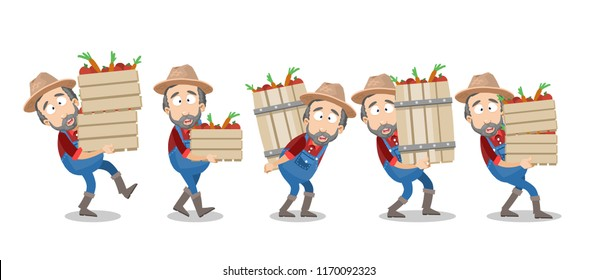 Bearded farmer carries wooden box with natural vegetables. Man in hat and overalls holding barrel with tomatoes. Agrarian worker crop harvesting on farm animation. Gardener working vector illustration