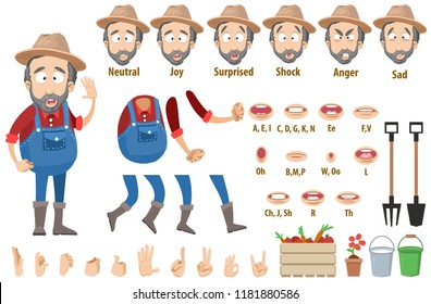 Bearded farmer character constructor and objects for custom animation scene. Agrarian worker various facial emotions, hand gestures and lip sync vector illustration. Gardener in overalls creation set