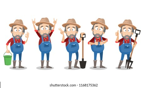 Bearded farmer in hat and overalls showing different gestures. Agrarian worker character doing thumbs up, v sign, okay and rock signs. Gardener standing with agricultural tools vector animation set