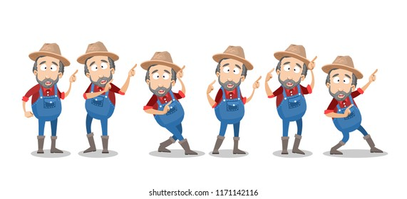 Bearded farmer in hat and overalls showing finger pointing gestures. Agrarian worker character pointing on free space. Agricultural production advertising personage. Funny gardener isolated vector