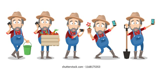 Bearded farmer in hat and overalls using smartphone. Gardener taking selfie photo with flower and talking on mobile phone vector animation set. Agrarian worker cartoon character in various poses.