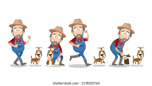 Bearded farmer in hat and overalls walking with dog. Agrarian worker cartoon character playing with pet and clean up excrement after his dog. Funny gardener activity isolated vector illustration