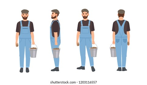 Bearded farmer isolated on white background. Agricultural worker wearing dungarees and cap, carrying bucket full of harvested potatoes. Front, back and side views. Flat cartoon vector illustration.