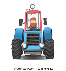 A bearded farmer in a tractor. Cartoon tractor model. The cultivation of the landscape