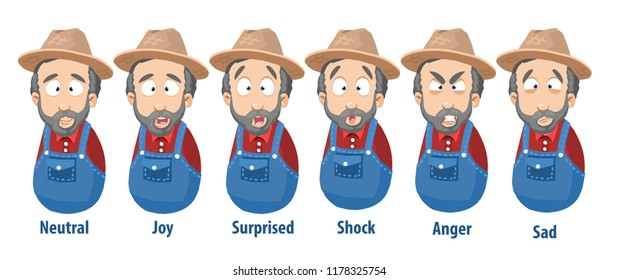 Bearded farmer with various facial emotions set. Avatars with neutral, joy, surprise, shock, anger and sad emotions. Gardener in hat and overalls vector personage. Agrarian worker cartoon icons