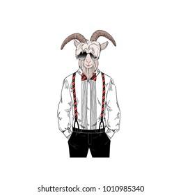 bearded goat man dressed up in retro style, anthropomorphic animal illustration