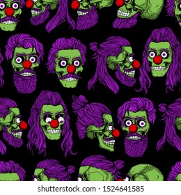 Bearded green zombie skulls with red clown nose, seamless pattern. Male skull with a stylish purple haircut. Picture for Halloween.