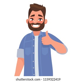 Bearded happy man shows thumb up. Gesture cool. Vector illustration in cartoon style