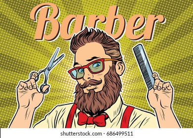 bearded hipster barber with scissors and comb. Pop art retro vector illustration